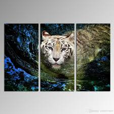 2017 modern tiger swimming in water dropship print canvas