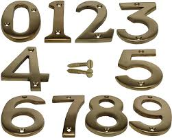 brass house door number numeric digits plate plates plaque gold