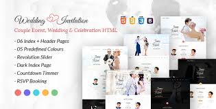 wedding invitation couple event and celebration html template by