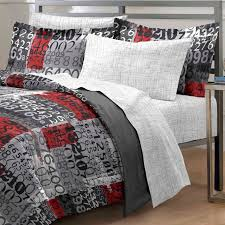 contemporary bedroom with boys twin bedding design black red gray