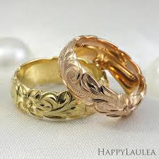 engraved rings gold images Hawaiian hand engraved 6mm 14k gold ring with wave edges jpg