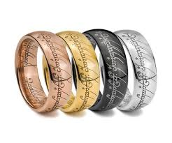 lord of the rings wedding band the lord of the rings tungsten carbide engraved yellow gold ring