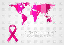Free Vector World Map by Breast Cancer Awareness Pink Ribbon And World Map Vector Image