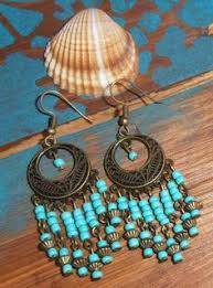 Black Bead Earrings Bronze Chandelier Details About Handmade Boho Ethnic Turquoise Beads Dream Catcher