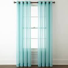 Sheer Teal Curtains Jcpenney Home Batiste Grommet Top Sheer Curtain Panel Jcpenney