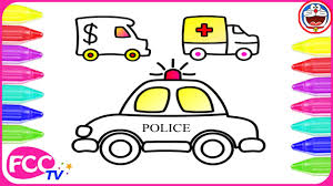 how to color u0026 learn to draw toys of ambulance police cars