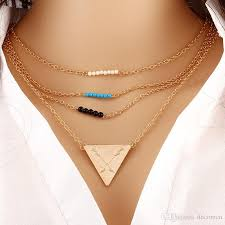 turquoise gold chain necklace images Wholesale personality triangle layer gold chain necklace pendant jpg