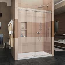 heavy glass shower door dreamline enigma x 56 in to 60 in x 76 in frameless sliding
