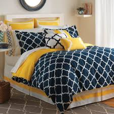 geometric pattern bedding bedroom cool navy blue and yellow bedding set with geometric