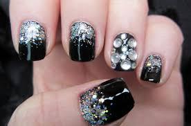 white stones and glitter black bling nail art u2013 funnystack com