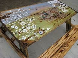 Design For Wooden Picnic Table by Best 25 Painted Table Tops Ideas On Pinterest Painted Tables