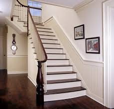 hallway and stair beadboard below chair rails and just a shade