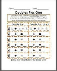 doubles plus one worksheet my classroom pinterest