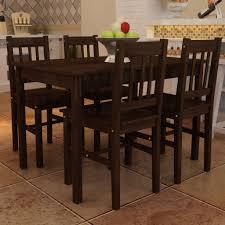 table avec 4 chaises vidaxl table à manger avec 4 chaises en bois brun ensembles table et