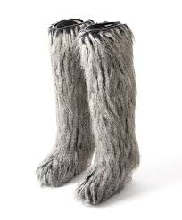 s yeti boots labellov chanel grey faux fur yeti boots buy and sell authentic