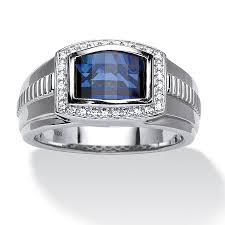 silver sapphire rings images Men 39 s blue and white sapphire ring in platinum over sterling