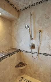 tuscan bathroom designed with corner shelf and hand held shower