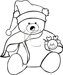 coloring christmas teddy bear royalty free clipart picture