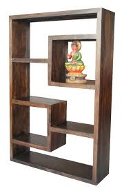 Dark Wood Bookshelves by Mango Wood Display Shelf Dark Or Light Finish Yoga Range