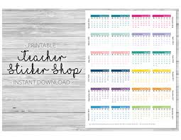 2017 2018 mini calendars sticker printable for planners erin