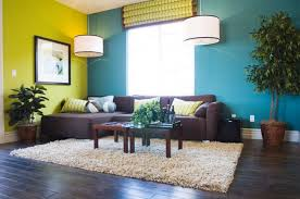 blue and chocolate brown living room interior design