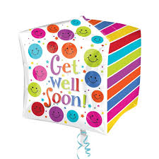 get well soon and balloons cubez get well soon balloon delivered inflated in uk