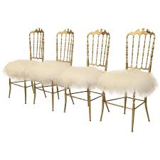 chaivari chairs set of three italian brass chiavari chairs in mongolian fur for