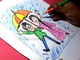 draw rainy season drawing kids step step