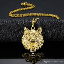 animal gold necklace images Wholesale solid wolf head pendant 18k yellow gold filled iced out jpg