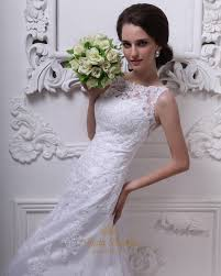 white lace a line dropped waist vintage wedding dress with sheer