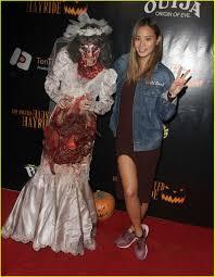 oj simpson halloween mask ashley tisdale u0026 jamie chung meet a scary zombie bride photo