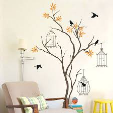 wall stickers birds custom boiler com wall stickers tree birds with and birdcage decal by artremovable decals bird cages uk
