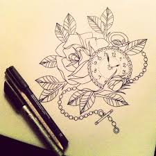 clock skull roses and bird tattoo designs photo 2 photo