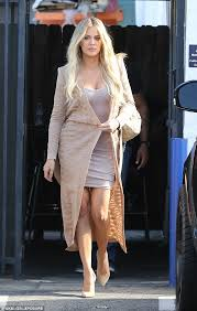 khloe kardashian looks stylish in bodycon dress and beige coat as