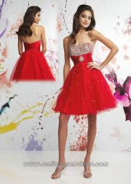 sweetheart full bead trimed short red lovely prom dress
