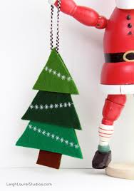 Easy Christmas Tree Decorations Felt Tree Ornament With Decorative Machine Stitching Karin
