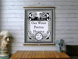 oak wood poster hanger 14 to 60 vintage chart