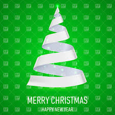 christmas tree made of white ribbon on green background vector