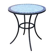 Lowes Coffee Table by Shop Garden Treasures Pelham Bay Tile Top Black Round Patio Bistro
