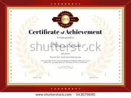 certificate achievement template red border red stock vector
