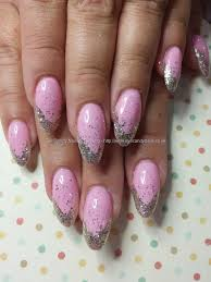 eye candy nails u0026 training pink gel with silver glitter tips by