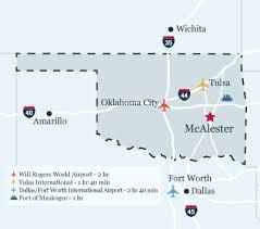 tulsa airport map air inland ports mcalester economic development