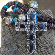 cross necklace fashion jewelry images Spiny oyster turquoise black onyx cross necklace jpg