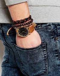 mens watches with bracelet images Lyst asos watch and bracelet set in brown in brown for men jpeg