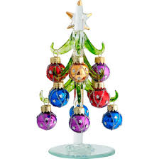 ls arts 6 inch green glass tree with images ornaments