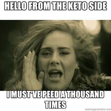 Side By Side Meme Generator - hello from the keto side i must ve peed a thousand times adele