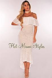 white lace dress lace illusion ruffle shoulder mermaid dress
