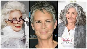 women in forties and grey hair ways to wear gray hair over 40