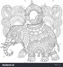 zentangle stylized cartoon elephant paisley mehndi stock vector