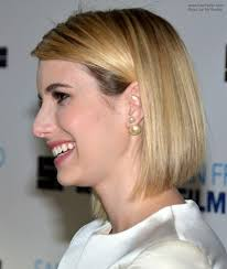 beveled bob haircut pictures emma roberts long sleek bob with rounded layers and beveled ends